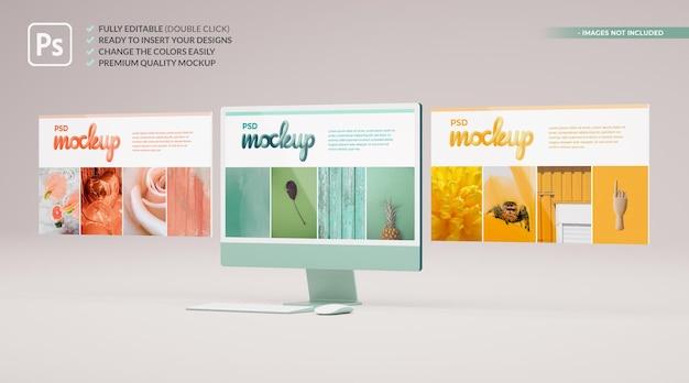 3d 렌더링에서 웹 및 앱 프레젠테이션을위한 플로팅 슬라이드가있는 컴퓨터 책상 모형