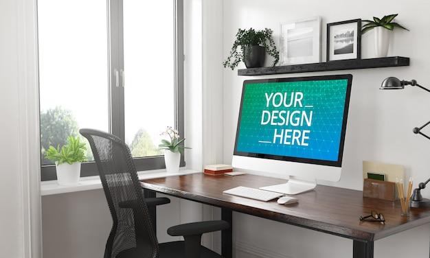 Computer desktop mockup in 3d rendering