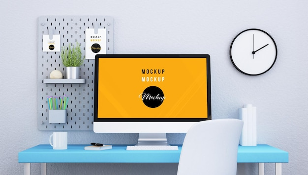 Computer on a desktop mockup design