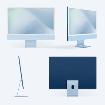 コンピューターデスクトップ画面モックアップpsdブルーデジタルデバイスミニマルスタイルセット