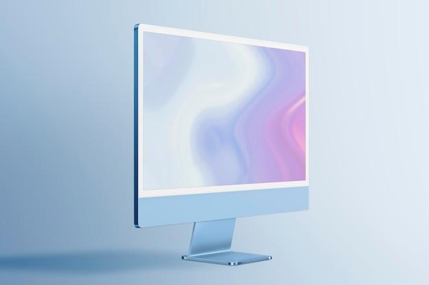 コンピューターデスクトップ画面モックアップpsdブルーデジタルデバイスミニマルスタイル