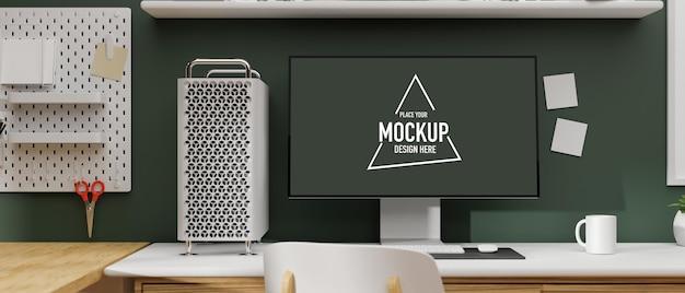 スタイリッシュな作業スペース 3d レンダリングのモックアップ画面を備えたコンピューター デバイス