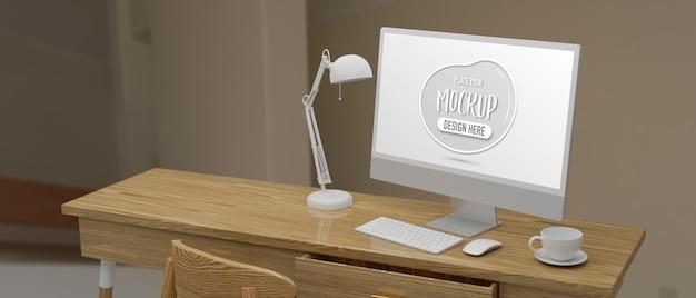 ホームオフィスの3dレンダリングでカップとランプを備えた木製のテーブルにモックアップ画面を備えたコンピューターデバイス