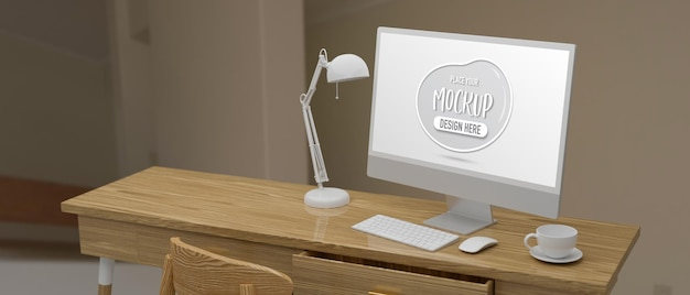 Computer device with mockup screen on wooden table with cup and lamp in home office 3d rendering