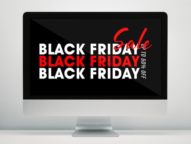 Computer display with black friday campaign mockup on work desk