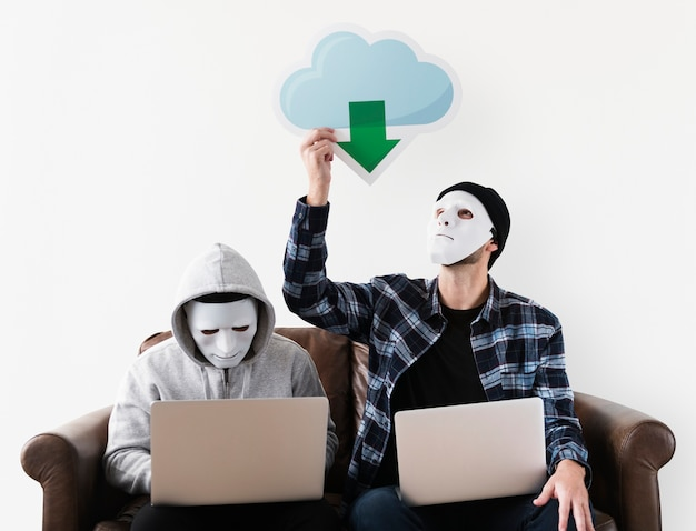 Computer hackers and cyber crime concept
