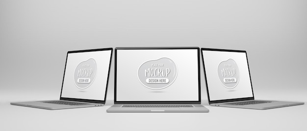 Computer laptop mockup screen isolated 3d rendering