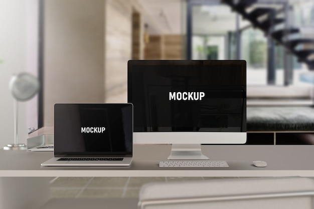 Computer and laptop mockup