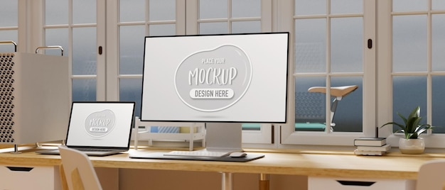 Computer and laptop with mockup screen