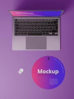 Computer merchandising mockup design