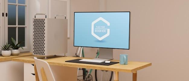 Экран макета компьютера на деревянном столе в домашнем офисе 3d-рендеринга