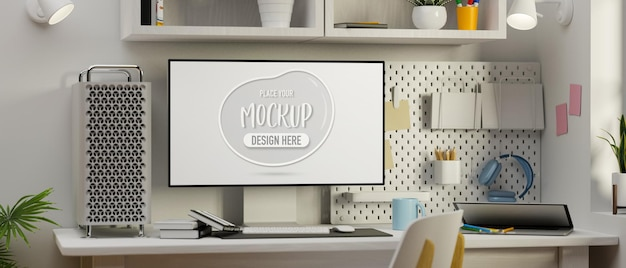 Computer mockup space stationery and supplies in white concept office desk 3d rendering