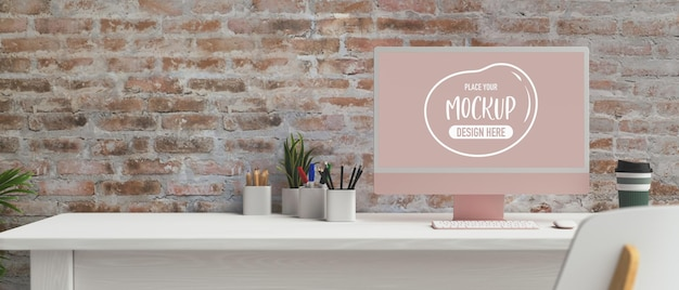 Computer monitor in modern office room 3d rendering mockup