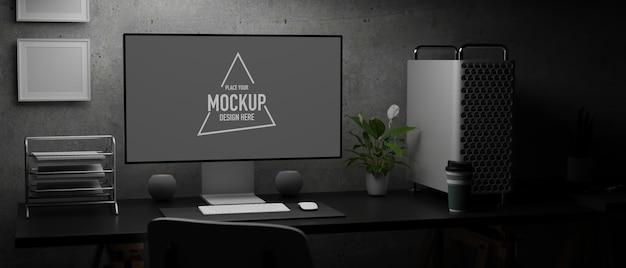 모형 화면이있는 컴퓨터 모니터