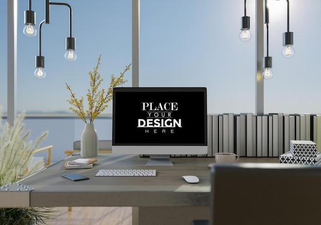 Компьютер на столе в рабочем пространстве mockup