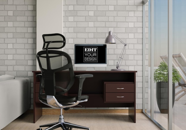 Компьютер на столе в рабочем пространстве mockup Premium Psd