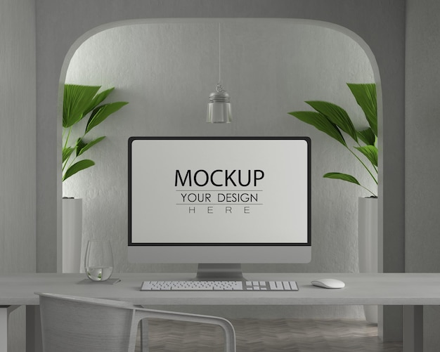 작업 공간 psd mockup에 테이블에 컴퓨터