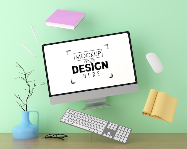 Компьютер на столе в рабочем пространстве psd mockup