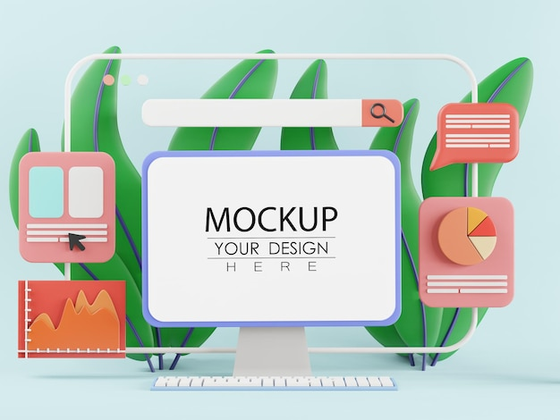 ワークスペースmockupのテーブル上のコンピューター
