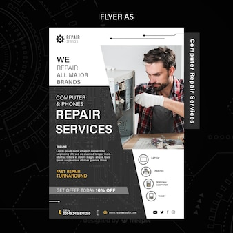 Computer and phones repair services flyer