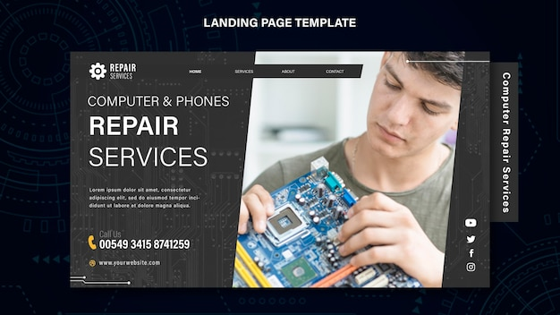 Computer and phones repair services landing page