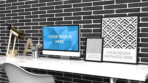 Мокап экрана компьютера и вертикальных плакатов в современном домашнем офисе из черного кирпича