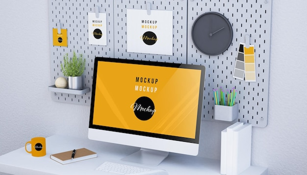 コンピューター画面のモックアップデザインの3dレンダリング