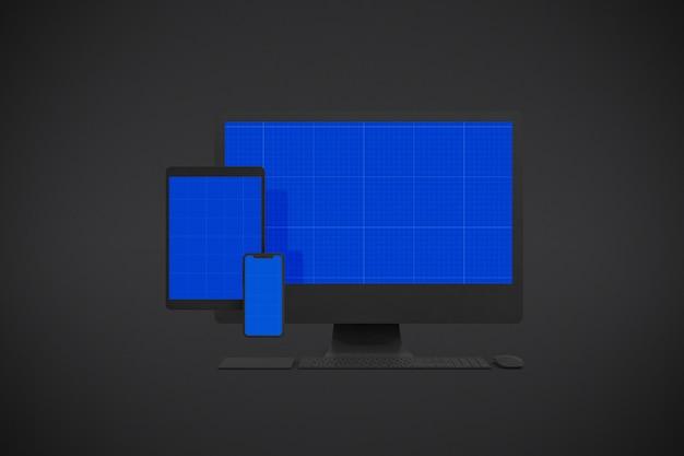 コンピューター画面、スマートフォン、タブレットのモックアップ