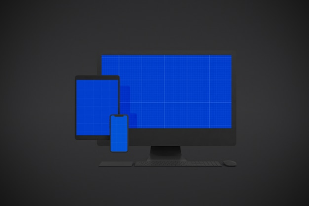 Computer screen, smartphone and tablet mockup