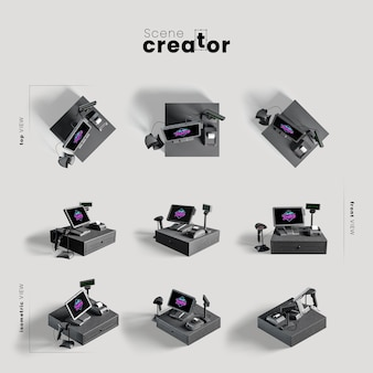 Computer set various angles for scene creator illustrations
