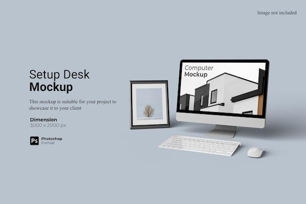 Computer setup desk mockup 3d rendering isolated