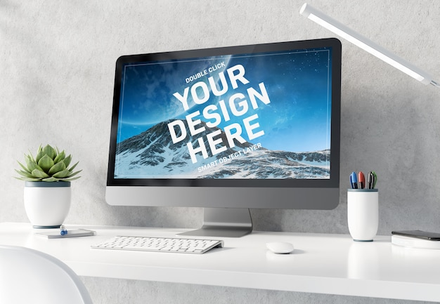 Computer on white desktop interior mockup