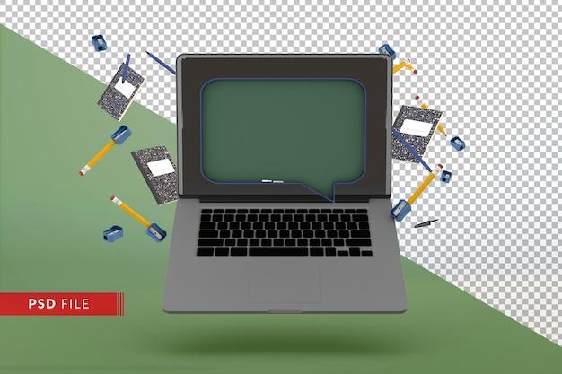 학교 3d 개념으로 돌아가는 현대적인 디지털 화이트보드가 있는 컴퓨터