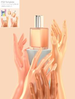 Корректор с руками на оранжевом фоне 3d визуализации