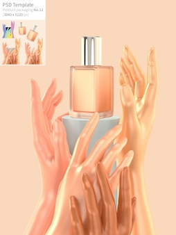 Concealer with hands on orange background 3d render