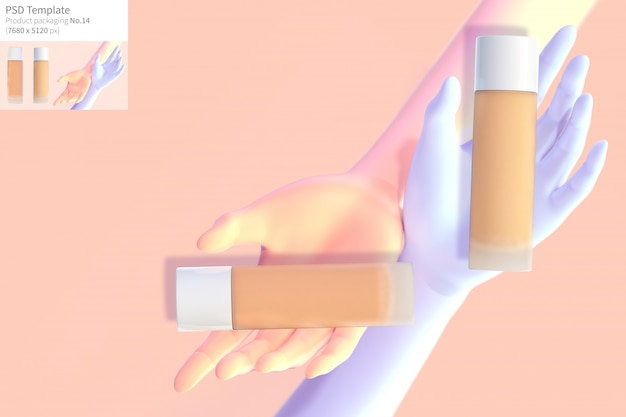 Concealer with pink and blue hands on pink background 3d render