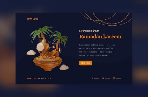 Concept of banner elegant ramadan mubarak decoration festival