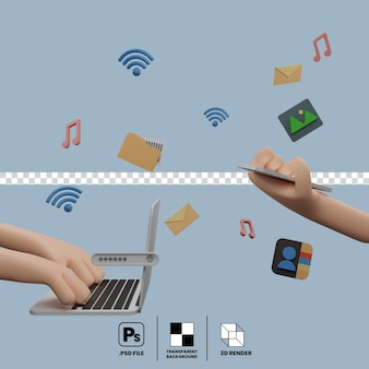 The concept of communication on laptop and smartphone sharing files connected by wireless