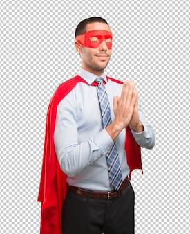 Concept of a hopeful super businessman prying