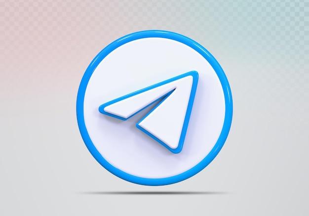 Концепция значок 3d визуализации telegram