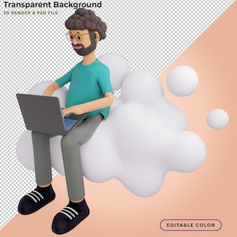 Concept mobile application and cloud services. male character sits on big cloud sign. 3d illustration.