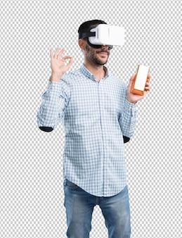 가상 현실 안경을 사용하여 풍부한 젊은이의 개념