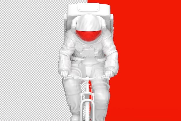 自転車に乗る宇宙飛行士の概念。 3dイラスト