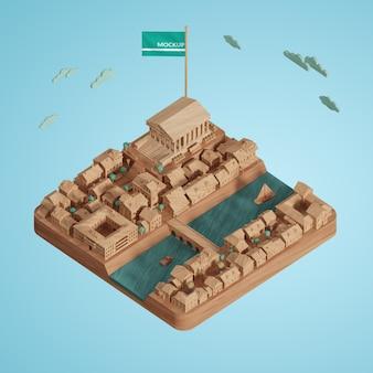 도시 세계의 날 3d 건물 모델의 개념
