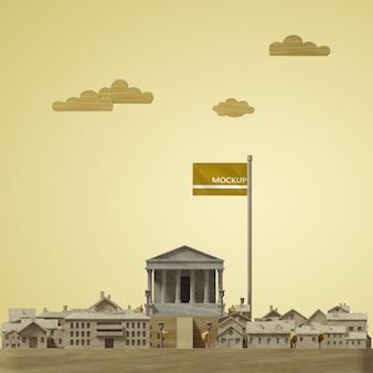 도시 세계의 날 3d 모델 모형의 개념 무료 PSD 파일