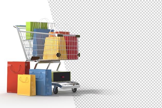 Концепция покупок в интернете с элементами покупок. разрабатывает концепцию маркетинга в интернете. подходит для продвижения цифровых магазинов. 3d рендеринг