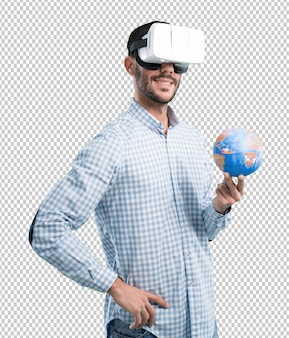 Concept of a young man who can travel with virtual reality glasses