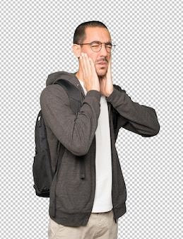 Concerned student doing a gesture of relief