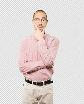 Concerned young man posing isolated