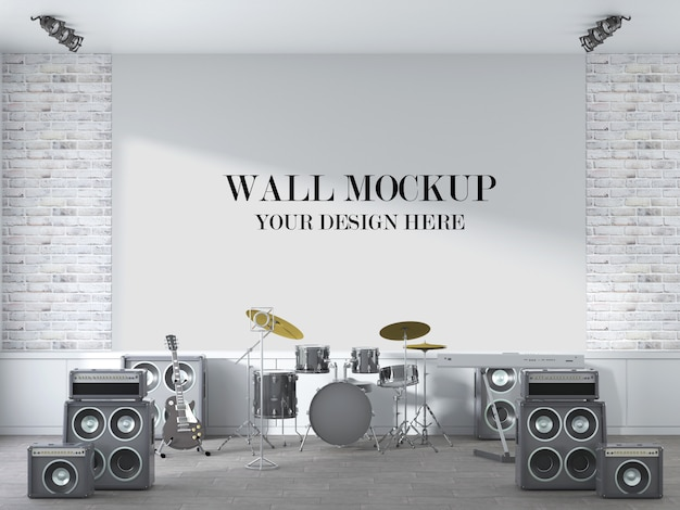 Concert scene wall mockup with musical instruments in interior